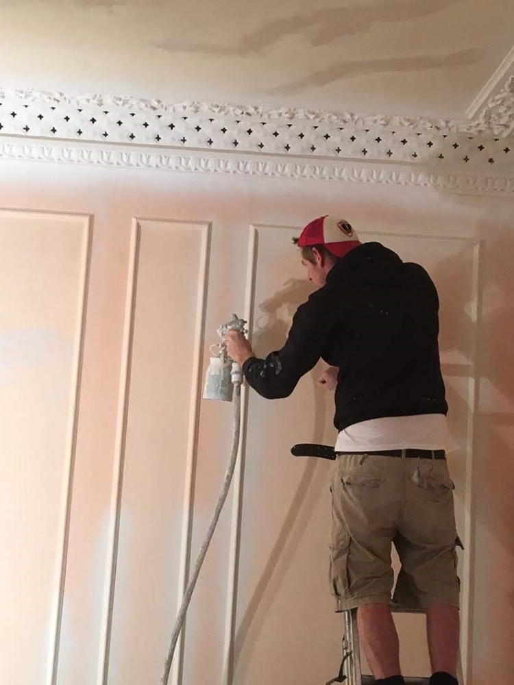Spraying a panelled Drawing Room in Clifton